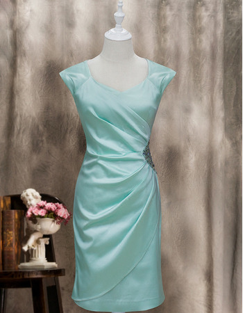 Custom Column Sleeveless Knee Length Satin Homecoming Dresses