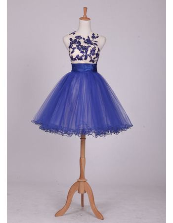 Elegantly Sleeveless Short Tulle Homecoming/ Party Dresses with Floral Appliques Bodice