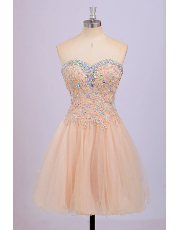 Sexy Sweetheart Short Satin Tulle Rhinestone Homecoming Dresses