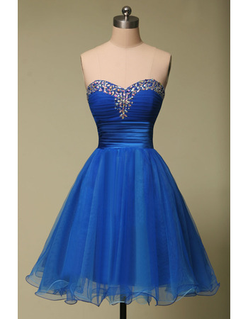 Inexpensive A-Line Sweetheart Mini/ Short Organza Homecoming Dresses
