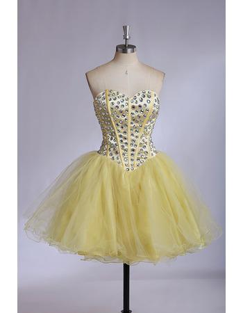 Sexy Sweetheart Mini/ Short Satin Organza Rhinestone Homecoming Dresses