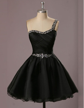 New Style A-Line One Shoulder Short Black Homecoming Dresses