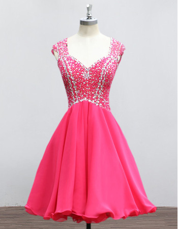 New Sweetheart Mini/ Short Chiffon Rhinestone Homecoming Dresses