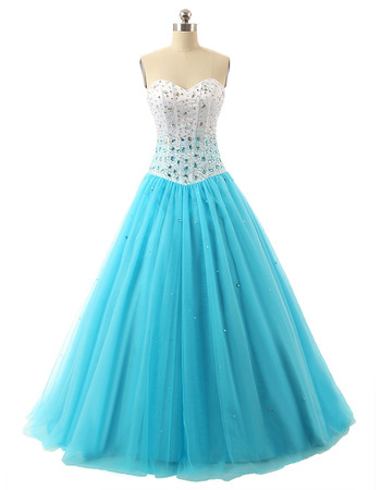 Shimmering Rhinestone Beading Satin Tulle Prom Party Dresses/ Quinceanera Dresses