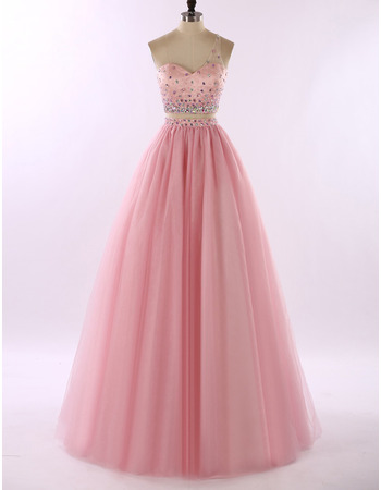 New Style One Shoulder Floor Length Two-Piece Prom/ Party Dresses