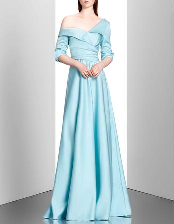 Elegance Lapel Asymmetric Shoulder Satin Evening Dresses with Half Sleeves