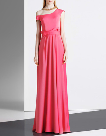 Elegant Asymmetric Shoulder Floor Length Satin Evening Dresses