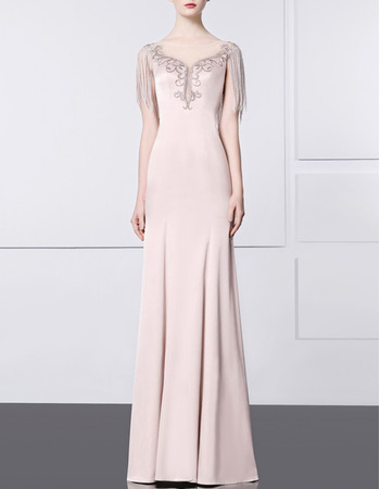 Custom Sheath Floor Length Satin Evening/ Prom Dresses with Fringe