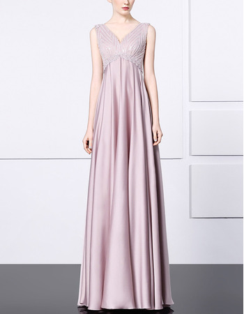 Sophisticated Empire V-Neck Elastic Woven Satin Evening/ Prom Dresses with Beading Bodice