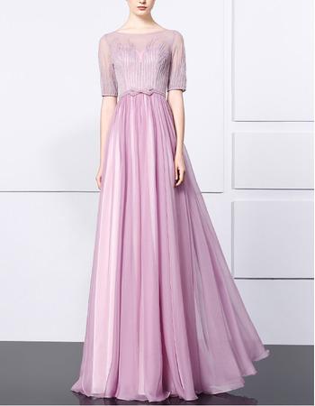Elegance Chiffon Beading Evening Dresses with Half Sleeves and Beaded Bodice
