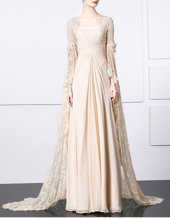 Glamorous Pleated Chiffon & Lace Evening Dresses with Chic Long Bell Sleeves