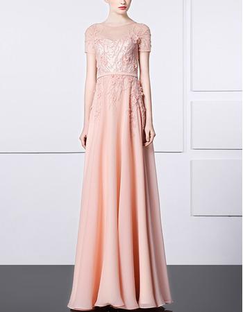 Glamorous Beadeding Embellished Evening Dresses with Short Sleeves adn Illusion Back
