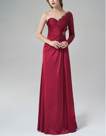 Asymmetric Sweetheart Evening Dresses with Long Sleeves