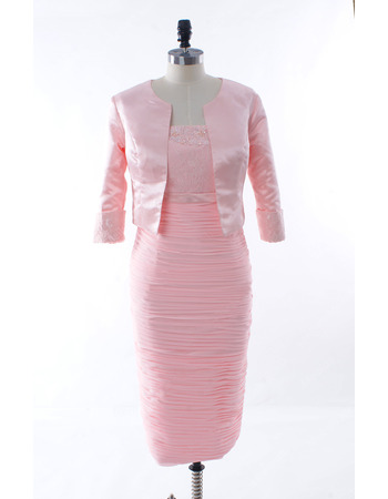 Elegant Modest Column Strapless Tea Length Mother of The Bride Dresses with Jackets and All Over Ruched Skirt