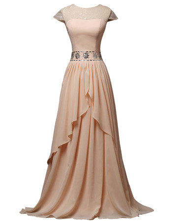 Exquisite Rhinestone Waist Floor Length Short Sleeves Chiffon Mother of The Bride Dresses with Keyhole Back and Split Front