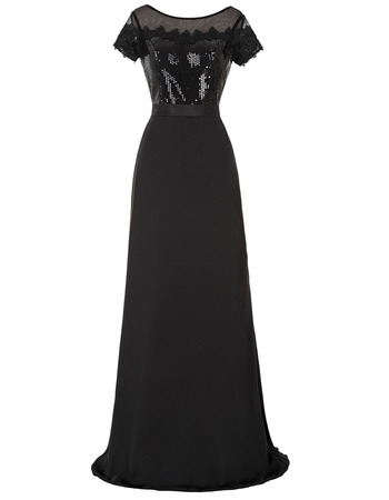 Discount Custom Floor Length Black Chiffon Sequined Mother of The Bride Dresses with Short Sleeves