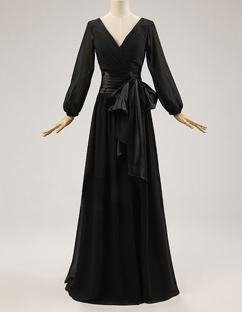 Custom Discount Double V-Neck Floor Length Pleated Black Chiffon Mother of The Bride Dresses with Long Sleeves