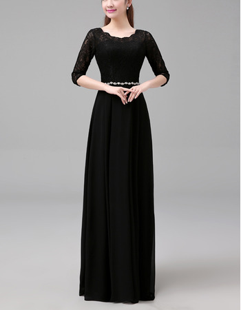 Junoesque Long Length Pleated Chiffon Lace Black Mother of The Bride Dresses with 3/4 Long Sleeves and Beaded Waist