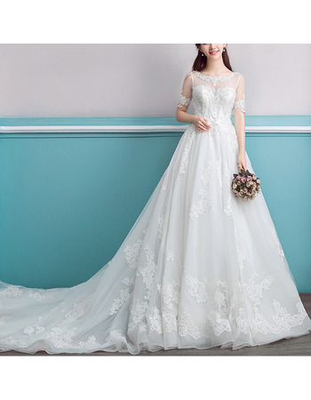 Luxurious Appliques Beadings Illusion Neckline Organza Wedding Dresses with Short Sleeves