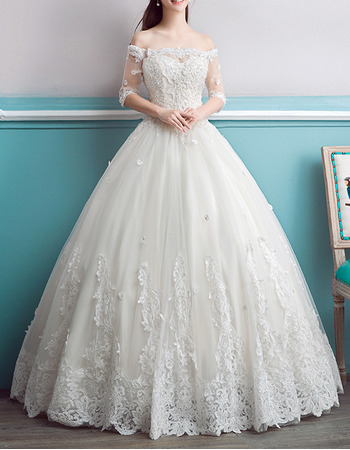 Romantic Floral Applique Ball Gown Off-the-shoulder Wedding Dress with Half Sleeves