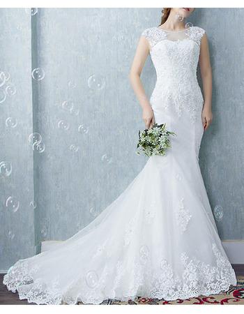 New Mermaid Sleeveless Court Train Organza Wedding Dresses