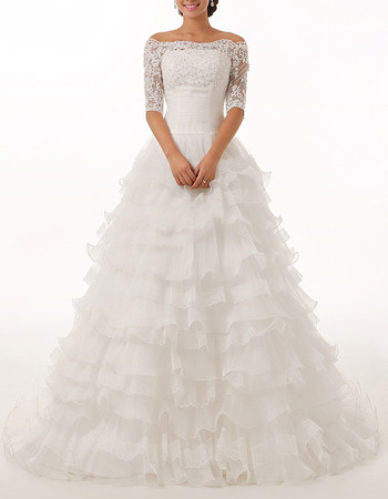 Gorgeous Off-the-shoulder Layered Organza Wedding Dresses with Half Sleeves