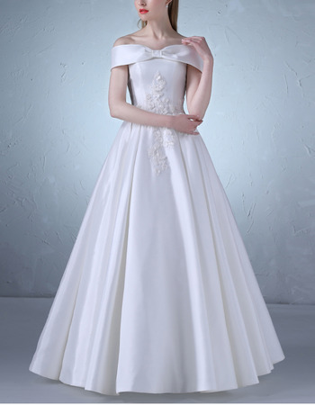 Custom Off-the-shoulder Floor Length Satin Wedding Dresses with Appliques Detail