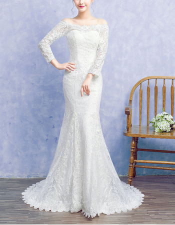 Inexpensive Off-the-shoulder Lace Wedding Dresses with Long Sleeves