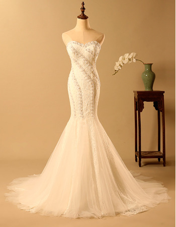 Romantic & Shimmering Sweetheart Lace Wedding Dresses with Mermaid Godet Skirt
