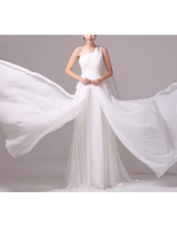 Elegance Beaded One Shoulder Pleated Chiffon Wedding Dresses