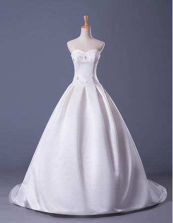 Discount Ball Gown Sweetheart Satin Wedding Dresses with Pearl Beading
