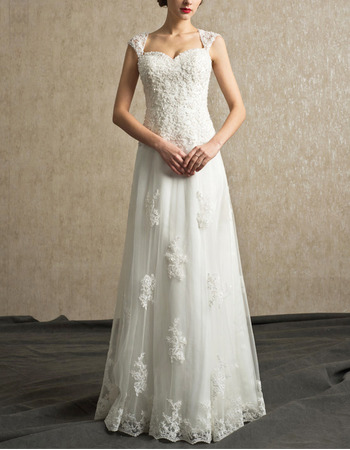 2017 New Sweetheart Floor Length Organza Wedding Dresses with Straps