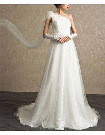 Elegantly One Shoulder Tulle Over Lace Wedding Dresses with Beaded Waist and Illusion Back