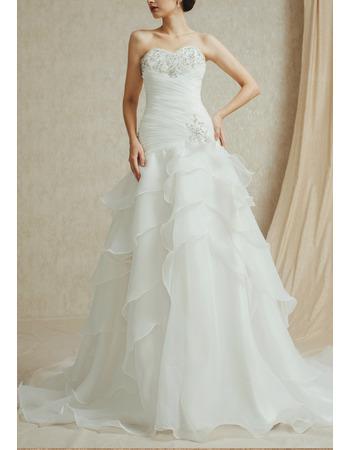 Romantic Beaded Sweetheart Organza Wedding Dresses with Layered Skirt