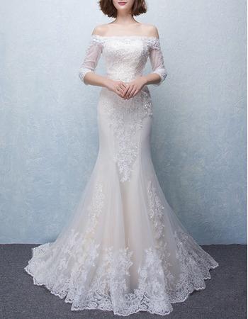 Custom Mermaid Off-the-shoulder Tulle Wedding Dresses with 3/4 Long Sleeves