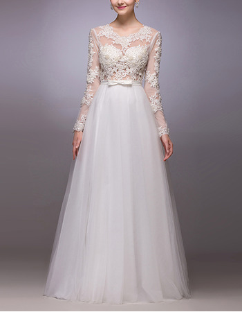 Sexy Floral Applique Illusion Bodice Wedding Dresses with Long Sleeves