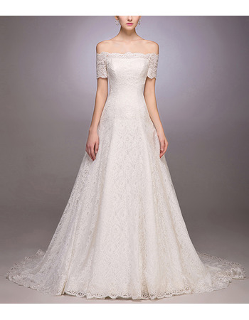 Elegant A-Line Off-the-shoulder Lace Wedding Dresses with Short Sleeves
