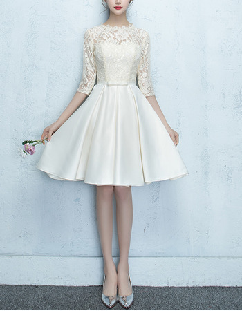 New Lace Bodice Reception Wedding Dresses with 3/4 Long Sleeves