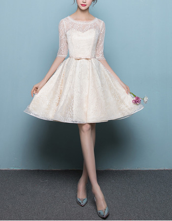 Simple Knee Length Lace Reception Wedding Dresses with Half Sleeves