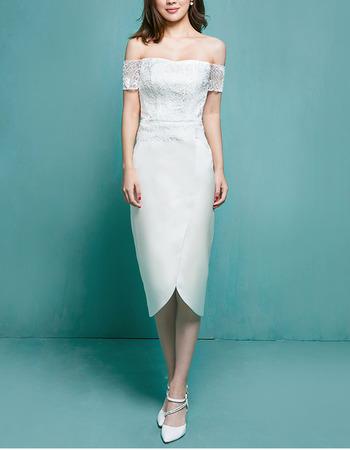 Discount Sheath Off-the-shoulder Tea Length Garden Wedding Dresses