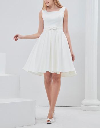 Simple A-Line Square Neck Short Satin Reception Wedding Dresses