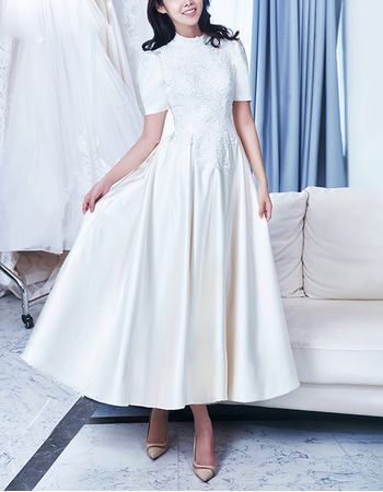 Vintage A-Line Ankle Length Satin Wedding Dresses with Short Sleeves