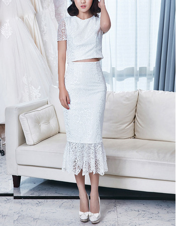 Simple Sheath Tea Length Two-Piece Lace Wedding Dress with Short Sleeves