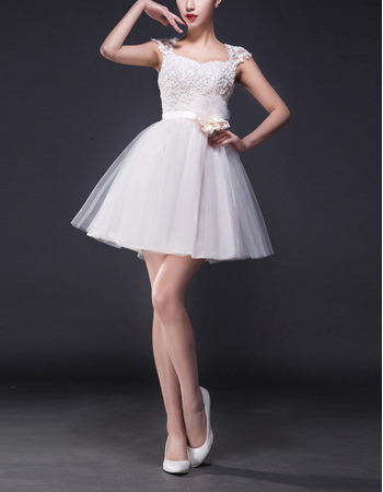 Empire A-Line Sweetheart Mini Satin Tulle Short Wedding Dresses