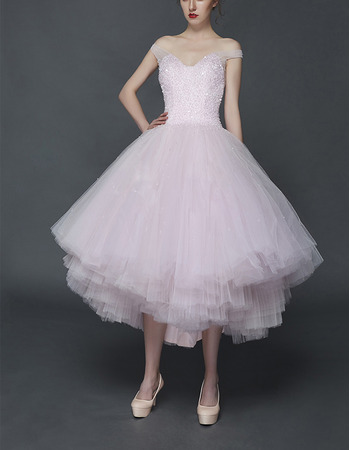 Affordable Empire Ball Gown Off-the-shoulder Tea Length Wedding Dresses