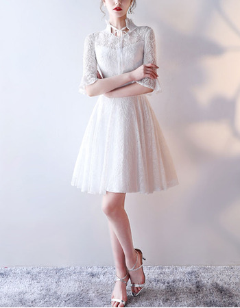 Casual High-Neck Lace Reception Wedding Dresses with Half Bell Sleeves