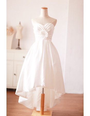 Simple Style Sweetheart High-Low White Taffeta Short Wedding Dresses with With Handmade Flowers