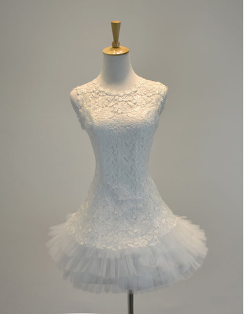 Charming Illusion Neckline Short Lace Wedding Dresses with Layered Bubble Skirt