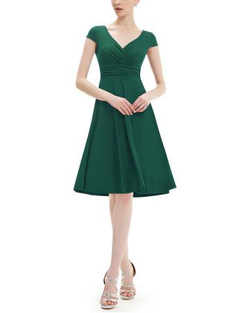 Vintage V-Neck Knee Length Chiffon Bridesmaid Dress with Short Sleeves