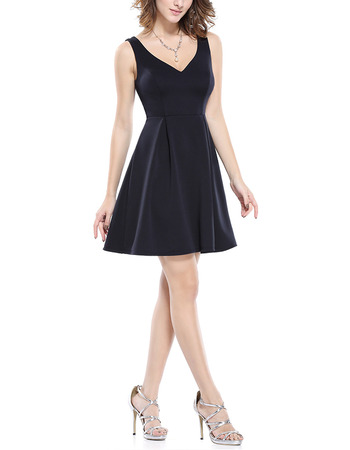 Custom V-Neck Sleeveless Short Satin Bridesmaid/ Wedding Party Dresses